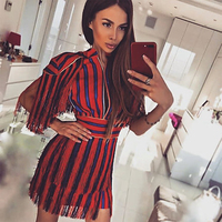 2017 New Summer Dress Women Celebrity Party Short Sleeve Tassel Sexy Club Night Out Dress Women