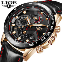 LIGE Fashion Top Luxury Brand Watch Men S Casual Gold Quartz Watch Men Leather Military Waterproof