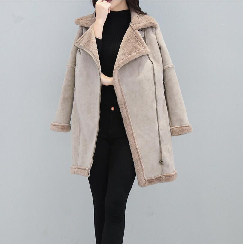 2017 New Winter Women fashion Thick Suede Lambs Wool Coat Female Warm Cotton Jacket Fashion Slim Parkas s1223 цены онлайн