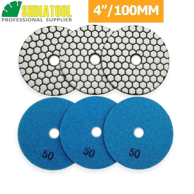 "SHDIATOOL 6pcs 4""/100mm Grit 50 Diamond Dry Polishing Pad Granite Marble Flexible Resin Sanding Disc Ceramic Stone Polisher disc"