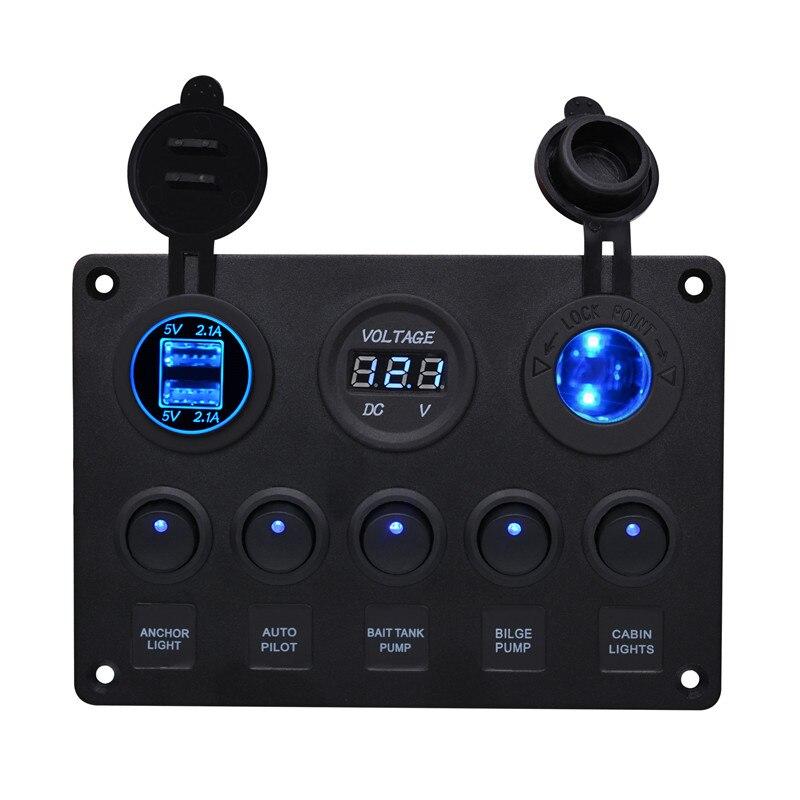 Haute Qualité Universel 2 Port De Voiture Bus Yacht Chargeur Plug Chargeur Adaptateur Double USB Cigarette Prise Allume + Numérique Voltmètre