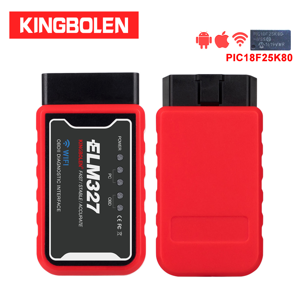 ELM327 WiFi Bluetooth V1.5 PIC18F25K80 Chip OBDII Diagnostic Tool For IPhone/Android/PC ELM 327 V 1.5 Auto Scanner Torque OBD(China)