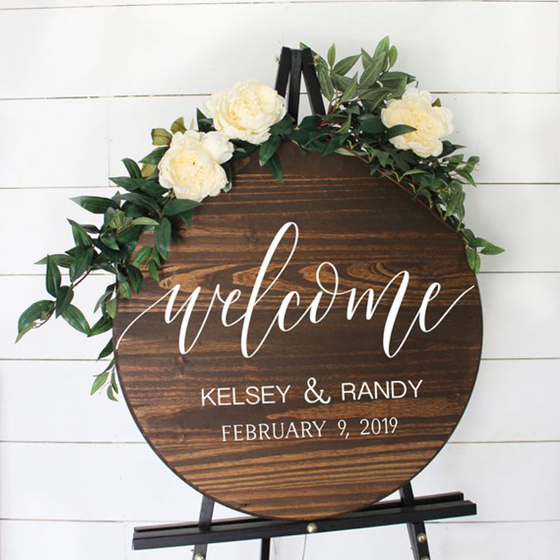 Personalized Wedding Welcome Entrance Signs Round Wooden Sign Romantic Simple Custom Round Wedding Sign Party Direction Signs