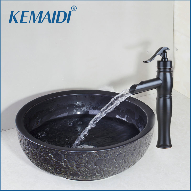 KEMAIDI Ceramic Bowl,Sink,Wash Oil Rubbed Bronze Faucet With Round Ceramic Bathroom Sink Set Bathroom Faucet&Sink Accessories