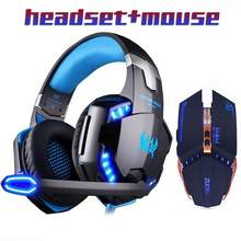 Gaming Headset Stereo Gamer Headphone dengan Mikrofon Earphone + Gaming Mouse 4000 DPI Disesuaikan Gamer Mice Kabel USB untuk PC(China)