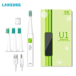 LANSUNG USB Rechargeable Ultrasonic Presented 4 Toothbrush heads BrushSets Whitening Teeth Sonic Brush Electric Toothbrush U1