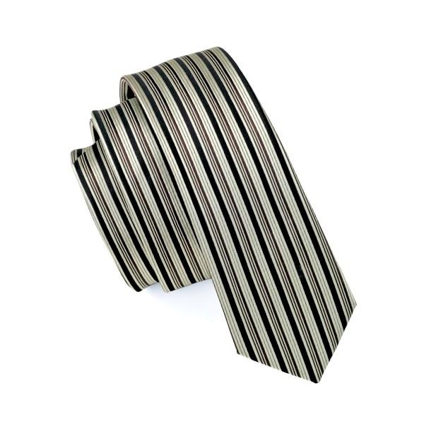 2017 Mode Schlanke Krawatte Khaki Und Schwarz Stripes Dünne Schmale Gravata Seide Jacquard Gewebte Krawatten Für Männer 6 Cm Breite Beiläufiger E-027 Mangelware