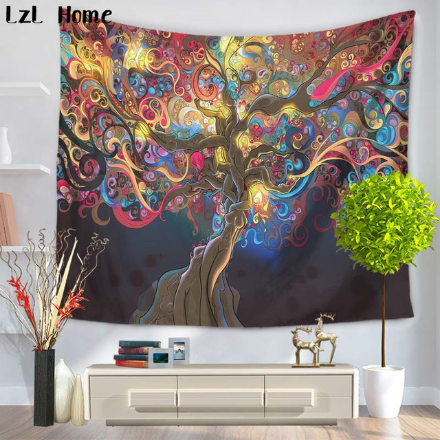 Lzl Home Animal Tree Of Life Tapestry Psychedelic Magical Mysterious Wall Hanging Bedroom Livingroom