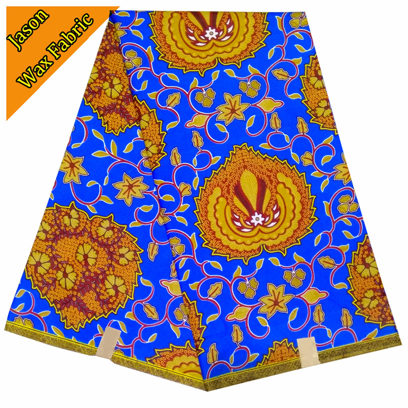 new style blue & brown color african wax prints fabric for sewing cloth dress 100% Polyester 6yards/lot for dress LBL