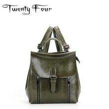 Двадцать четыре женщины Натуральная кожа рюкзаки Дамы крышка нажмите рюкзаки для подростков девочек школьные сумки дорожные сумки Mochila