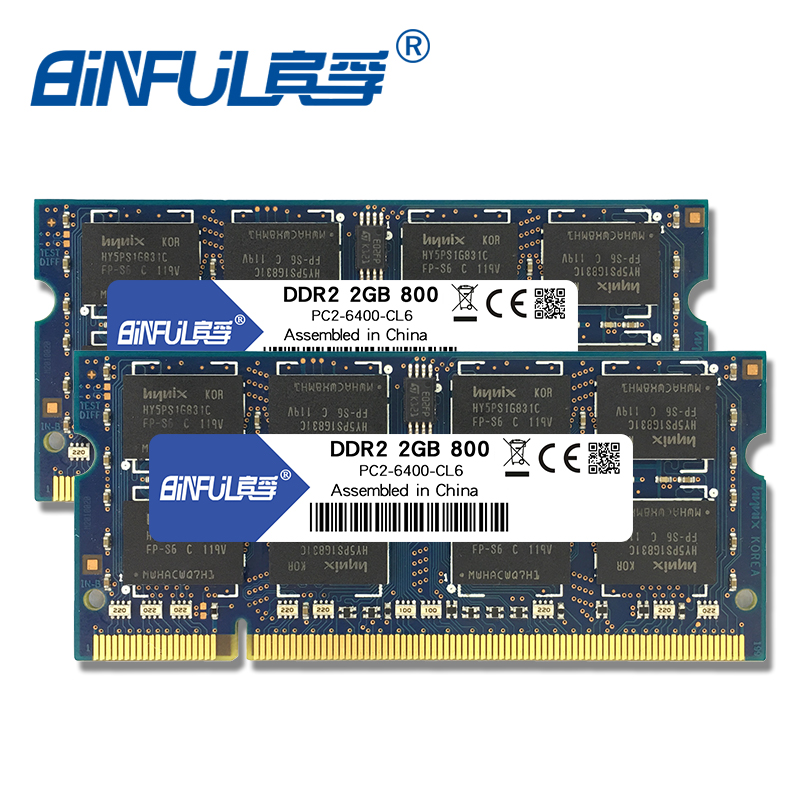Binful DDR2 4G (2X2 GB) 800 mhz PC2-6400S sodimm de Memória ram memoria para computador notebook laptop 1.8 V dual-channel