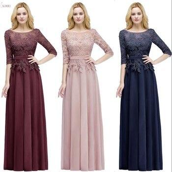 цена на 2019 Burgundy Pink Navy Chiffon Long Bridesmaid Dresses Scoop Neck Half Sleeve Wedding Party Gown vestido madrinha