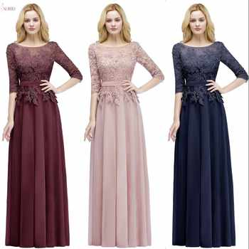 2019 Burgundy Pink Navy Chiffon Long Bridesmaid Dresses Scoop Neck Half Sleeve Wedding Party Gown vestido madrinha - DISCOUNT ITEM  40% OFF All Category