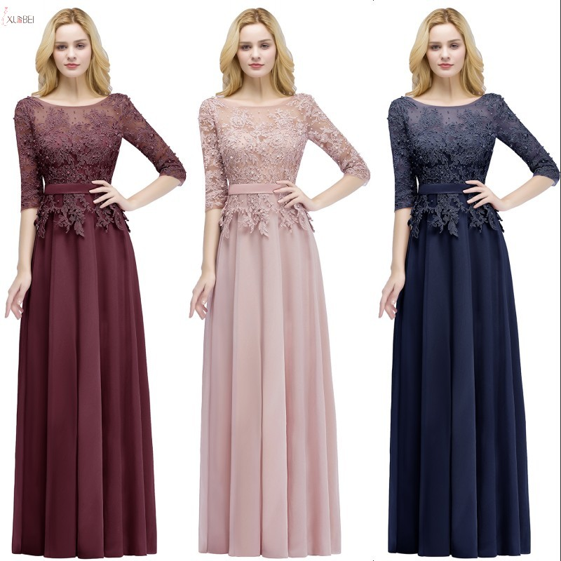 2019 Burgundy Pink Navy Chiffon Long   Bridesmaid     Dresses   Scoop Neck Half Sleeve Wedding Party Gown vestido madrinha