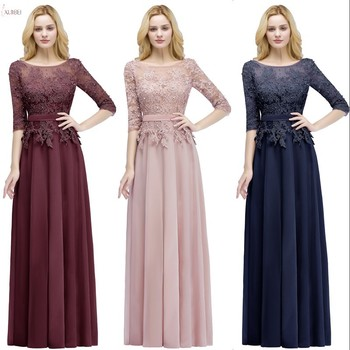 7c067e727 2019 Rosa Borgoña azul marino largo de gasa dama de honor vestidos de  cuello media manga boda vestido de fiesta vestido madrinha