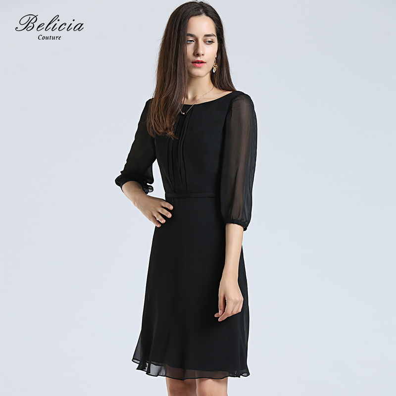 3e3853c529628 US $119.0 |Belicia Couture Black Cocktail Dresses Chiffon Half Sleeves  Women Short Party Gowns A Line Office Elegant Casual Dress -in Cocktail  Dresses ...