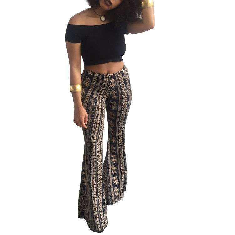 New Sexy Stretch High Waist Flare   Pants   Boho Palazzo Bell Bottom Long Trousers