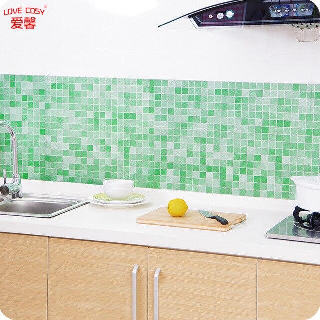 1 stück Küche Herd Nachahmung Mosaik Aluminiumfolie Öl Aufkleber ...