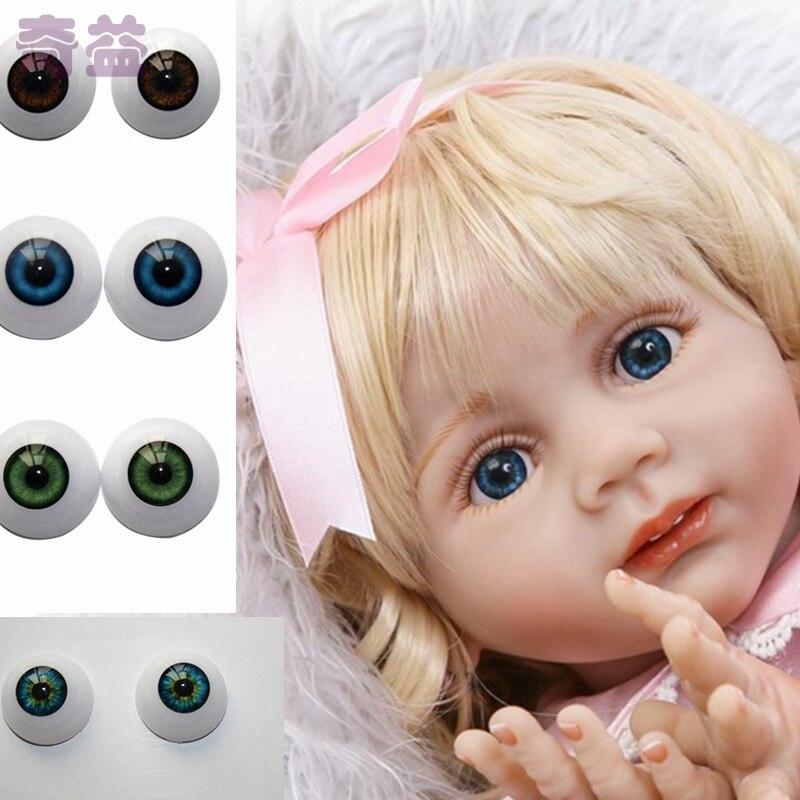 1 Pair Reborn Supplies Baby Doll Eyes 24mm Acrylic Eyeball Fit For 28 Dolls DIY Accessories KYY8411
