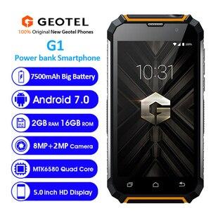 Image 2 - Geotel G1 قوة البنك الهاتف الذكي 5.0 بوصة Andriod 7.0 MTK6580A رباعية النواة 2GB RAM 16GB ROM 8.0MP كاميرا 7500mAh GPS 3G الهاتف المحمول