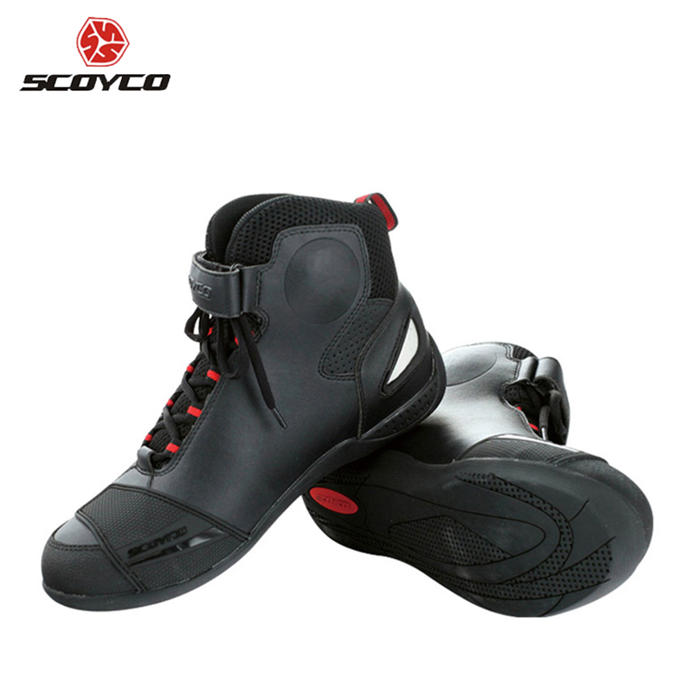 SCOYCO Motorcycle Boots Street Racing Ankle Boots Breathable Motorbike Touring Riding Boots Protective Gear Shoes MBT009 scoyco motorcycle riding knee protector extreme sports knee pads bycle cycling bike racing tactal skate protective ear