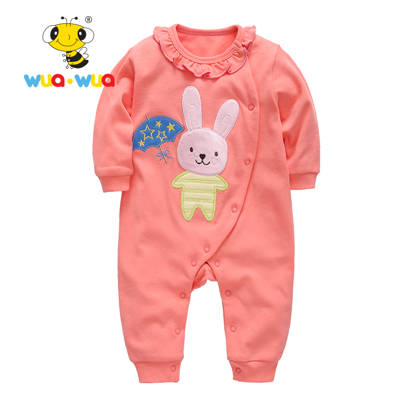 Baby boy girl Clothing kids Romper baby Cotton Newborn Clothes jumpsuit full Sleeve o-neck Animal print pink Wua wua AT17130 2017 cute newborn baby girl romper clothes summer sleeveless floral lace jumpsuit outfits toddler kids sunsuit clothing