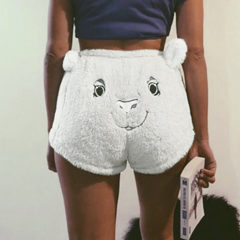 Cute Cartoon Pattern Fleece Fashion Embroidery Pattern White Band Width Loose Shorts Female Autumn And Winter