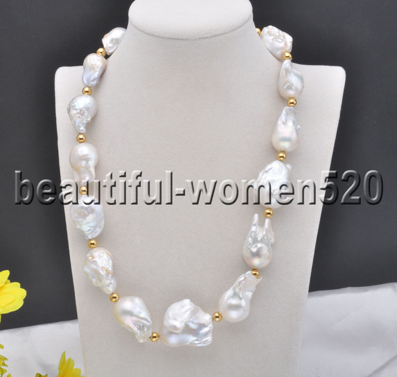 Z8076 29mm Big 30mm White BAROQUE KESHI REBORN PEARL NECKLACE 20inch z3519 17 30mm white baroque keshi reborn pearl necklace