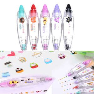 Cute Cartoon Book Decorative Kid Novelty Floral Adesivos Label Tape Baby Drawing Toys Child Creative Correction Tape Sticker Pen