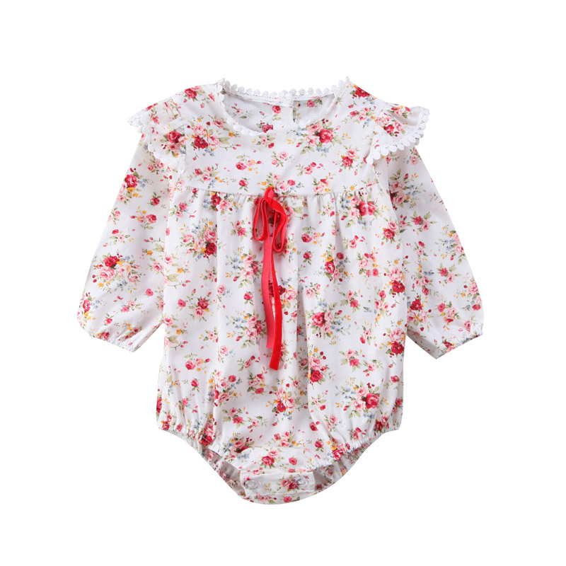 New Casual Newborn Toddler Kids Baby Girl Off Shoulder Floral Romper Long Sleeve Jumpsuit Outfit Clothes