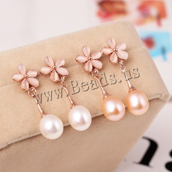 Freshwater Pearl Earrings Luxury with Cats Eye & rose gold color plated mixed colors 9mm 2Pairs/Bag