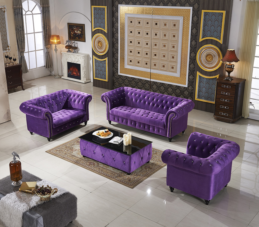 Remarkable Purple Modular Velvet Sofa Home Living Room Furniture Button Squirreltailoven Fun Painted Chair Ideas Images Squirreltailovenorg