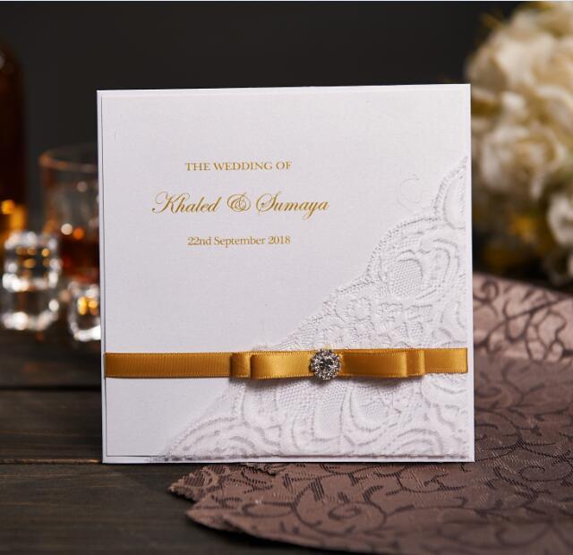 Vuntage Wedding Invitations Card Personalized Cards With Photo Rhinestone Buckle Birthday Nk301
