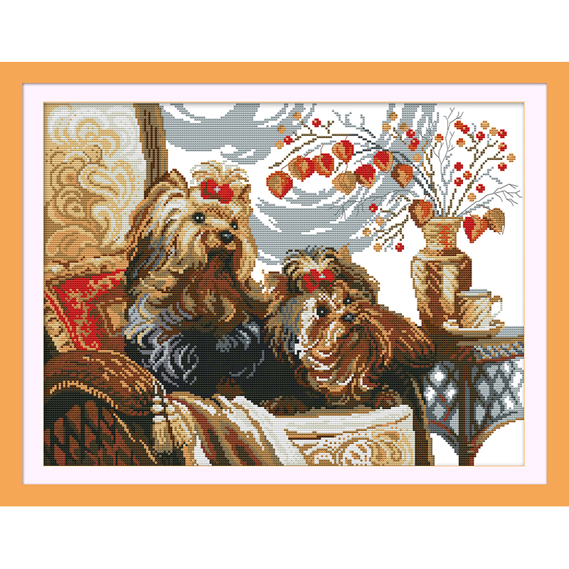 Everlasting love Two dogs Chinese cross stitch kits Ecological cotton stamped printed 14 11CT DIY new year decorations for home