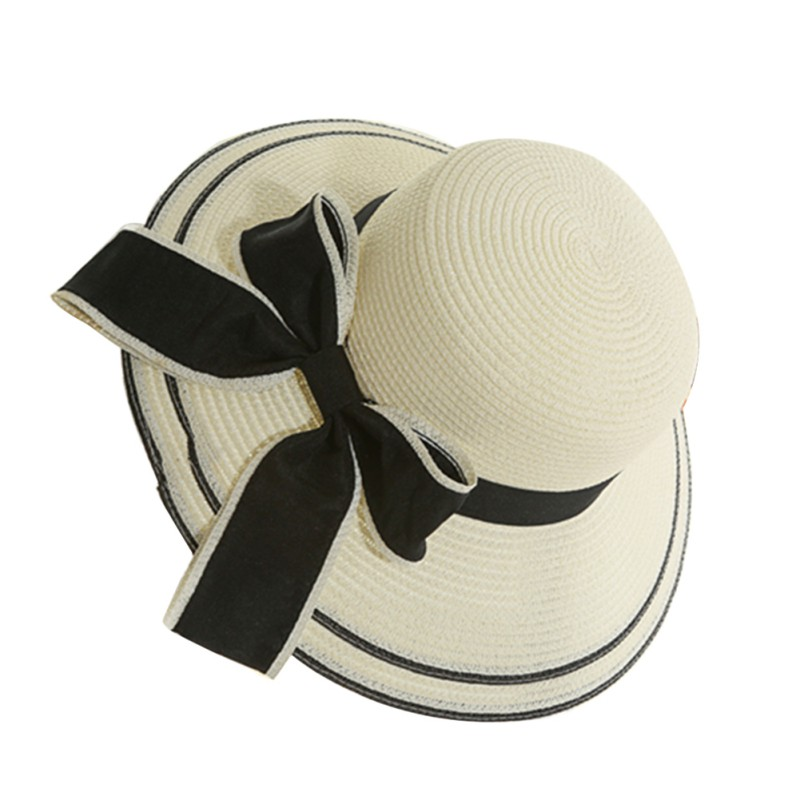 920ab0226be0b Hot Womens Straw Hat Floppy Wide Brim Bowknot Summer Beach Sun Lady Casual  Cap