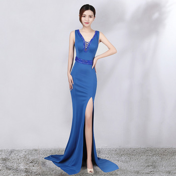 Evening Dresses Long Sexy Leg Slit Mermaid Lace See-through V-neck Formal Party Gowns 2019 Abendkleider