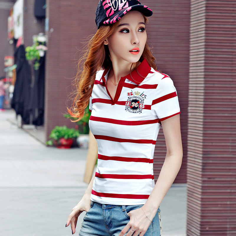 High Quality Sexy font b Womens b font Ladies Striped Poloshirt Cotton Females Shirts font b