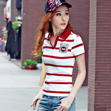 High Quality Sexy Womens Ladies Striped Poloshirt Cotton Females Shirts Polo Raph camisa damen polo hemd polo femme cheval