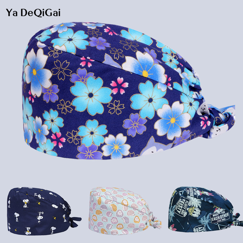 Unisex Pet Hospital Doctor Nurse Caps Printed Medical Surgical Cap High Quality Adjustable Dentistry Hats Operating Surgery Cap