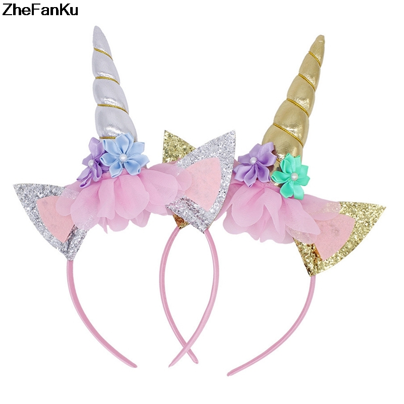Flight Tracker 1pc Gold Unicorn Headband Handmade Kids Party Horn Gold Glittery Beautiful Headwear Hairband Hair Jewelry Gold/silver In Many Styles