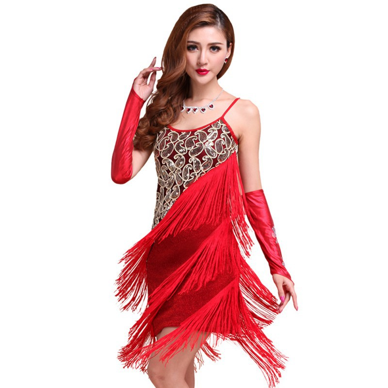 Large Size Dress Party Dresses Vestidos Solid Women Sexy Flapper Sequined Fringed Dance Dress Ladies Rumba Latin Dress