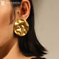 Enfashion Geometic Big Circle Ripple Stud Earrings Gold Color Ear Jacket Stainless Steel Earrings For Women