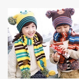 Successful Man Store 2016 Robot Sphere paragraph baby infant child ear men and women warm winter hat scarf sets