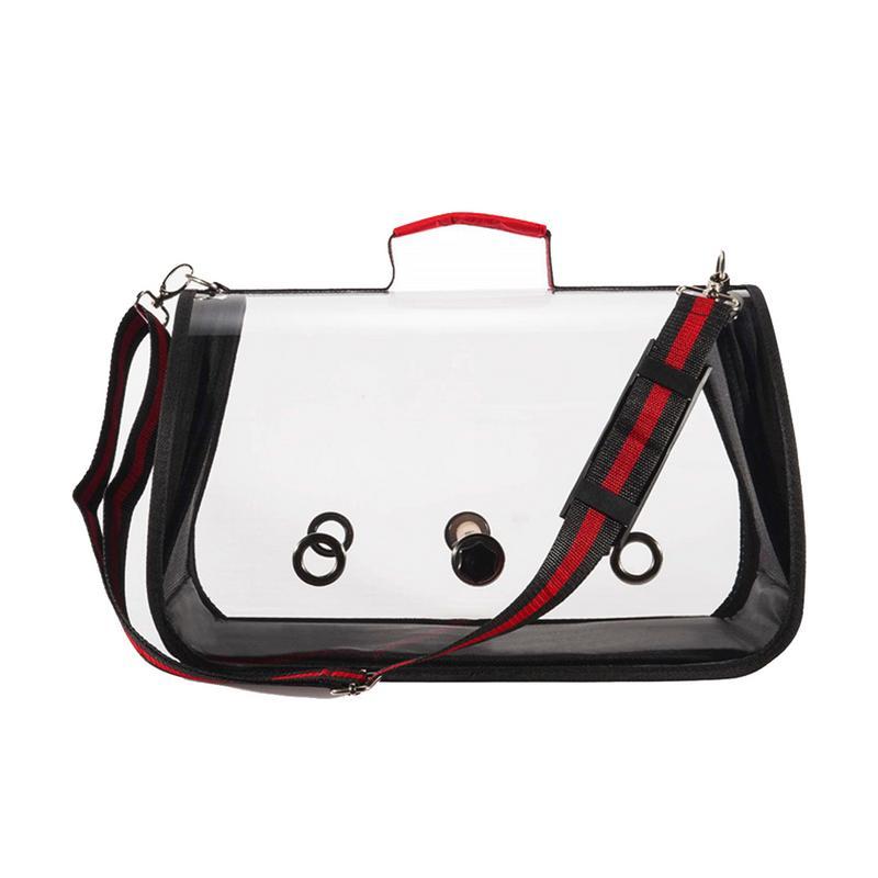Модная дорожная клетка для птиц из ПВХ, прозрачная дышащая сумка для попугая, сумка для переноски птиц на открытом воздухе - Цвет: Black
