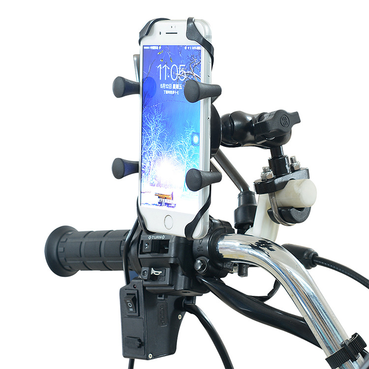 Universal Aluminum Alloy Motorcycle Scooter HandleBar Mirror Rear View Mount Phone Holder for iPhone 7/8 8 Plus Galaxy S7/S8
