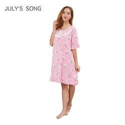 JULY'S SONG женские летняя ночная рубашка женские хлопковые с круглым вырезом с коротким рукавом цельные пижамы с принтом по колено домашняя