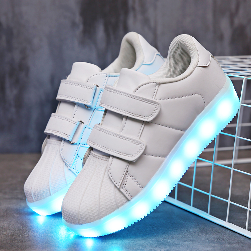 2018 New White kids Led USB charging glowing Sneakers Children hook loop Fashion luminous shoes for girls boys men women #25-362018 New White kids Led USB charging glowing Sneakers Children hook loop Fashion luminous shoes for girls boys men women #25-36