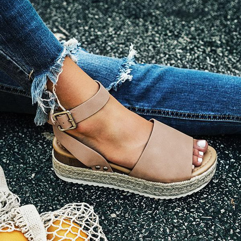 Wedges Shoes Platform Sandals Flip-Flop Women Pumps High-Heels Black Femme Size43 Summer