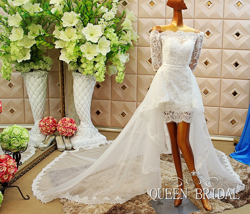 A line short wedding dress with removable skirt detachable tail ...