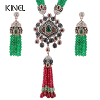 Kinel Natural Stone Indian Jewelry Sets Red And Green Crystal Zircon Antique Gold Color Exaggeration Necklace Earrings For Women